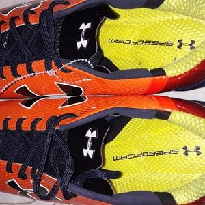 Under Armour Shoes - Under Armour orange red low top football cleat